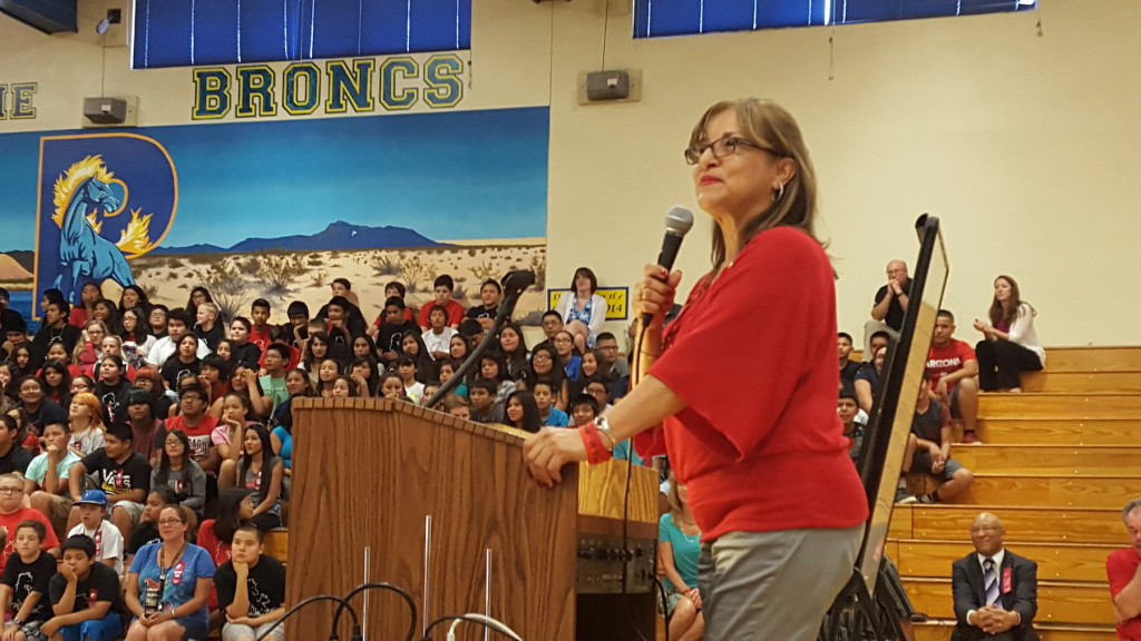 Mika Camarena spoke to students at Parker High and Salome High School during her 2015 visit to Parker.