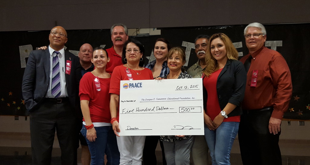 The PAACE board and staff presented Mika Camarena with a $500 donation during her visit to Parker in 2015.
